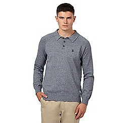 St George by Duffer - Navy twist long sleeved polo top