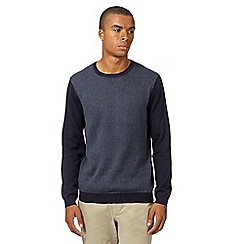 Red Herring - Navy herringbone crew neck jumper