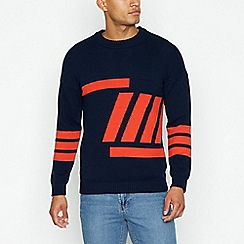 Red Herring - Navy textured front crew neck jumper