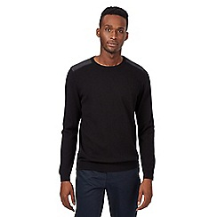 Red Herring - Black textured shoulder jumper