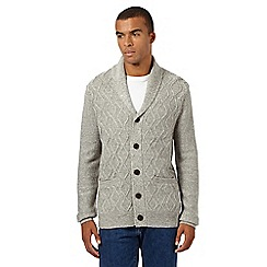 Red Herring - Light grey cable knit shawl cardigan