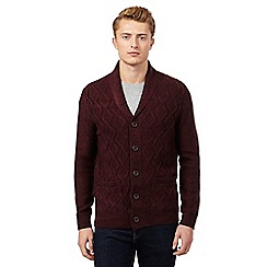 Red Herring - Dark red cable knit cardigan