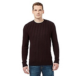 Red Herring - Dark red cable crew jumper
