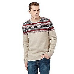 Red Herring - Natural knitted pattern jumper