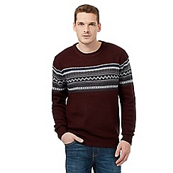 Red Herring - Dark red basket weave jumper