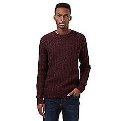 St George by Duffer - Dark red neppy cable knit jumper