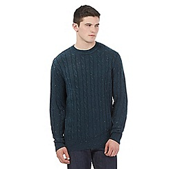 St George by Duffer - Dark green 'Neppy' cable knit jumper