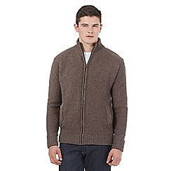 St George by Duffer - Brown lined zipped jumper