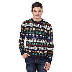 Red Herring - Navy festive print Christmas jumper