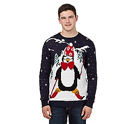 Red Herring - Navy skiing penguin Christmas jumper