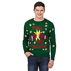 Red Herring - Green 'Pull My Cracker' light-up Christmas jumper