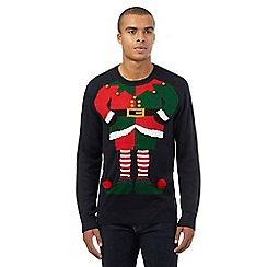 Red Herring - Navy elf costume Christmas jumper