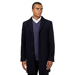 Red Herring - Big and tall navy wool-blend epsom coat