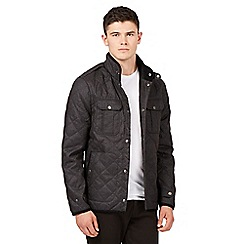Red Herring - Big and tall dark grey quilted checked jacket