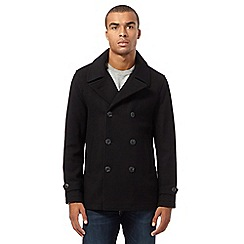 Red Herring - Big and tall black wool blend pea coat