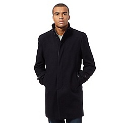 Red Herring - Big and tall navy wool blend funnel coat