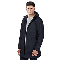 Red Herring - Big and tall navy hooded mac coat