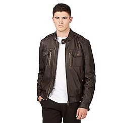 Red Herring - Big and tall brown pu biker jacket
