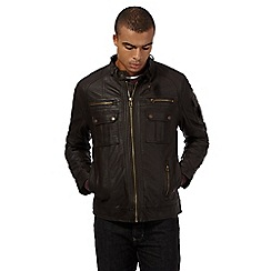 Red Herring - Big and tall brown leatherette biker jacket