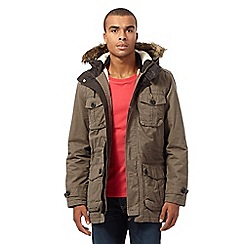 St George by Duffer - Big and tall khaki faux fur parka jacket