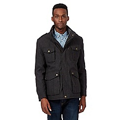 St George by Duffer - Big and tall grey herringbone coat