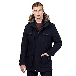 St George by Duffer - Big and tall navy herringbone parka coat