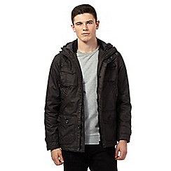 St George by Duffer - Big and tall black coated utility hooded jacket