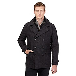 St George by Duffer - Big and tall dark grey wool blend pea coat