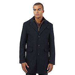 St George by Duffer - Big and tall navy mock layer epsom coat