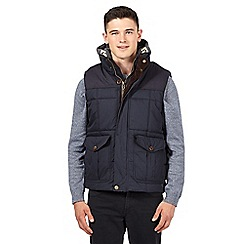 St George by Duffer - Big and tall navy hooded checked gilet