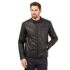 Red Herring - Black ribbed biker jacket