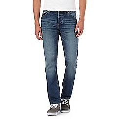 St George by Duffer - Big and tall mid blue stonewash straight fit jeans