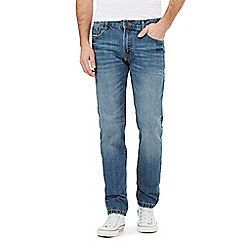 St George by Duffer - Big and tall mid blue stonewash tapered fit jeans
