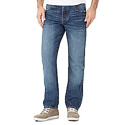 St George by Duffer - Big and tall mid blue mid wash straight fit jeans