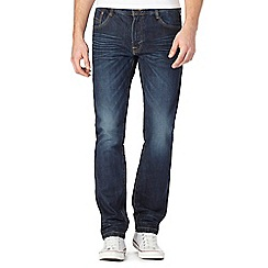 St George by Duffer - Big and tall dark blue whisker tapered jeans