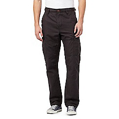 Red Herring - Big and tall dark grey straight cargo trousers