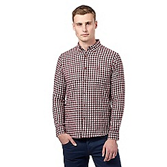 St George by Duffer - Big and tall wine logo checked shirt
