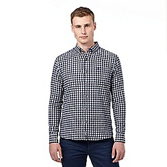 St George by Duffer - Big and tall navy logo herringbone checked shirt