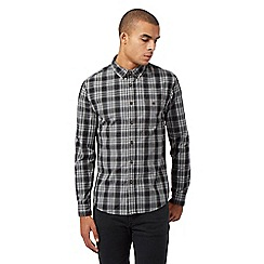Red Herring - Big and tall grey long sleeved marl checked shirt