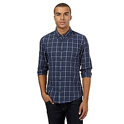 Red Herring - Navy checked slim fit shirt