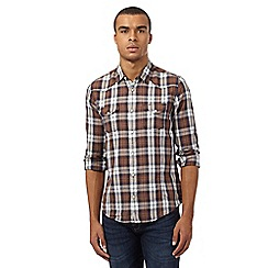 Red Herring - Brown regular fit long sleeved checked shirt