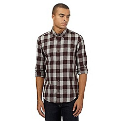 Red Herring - Dark red checked slim fit shirt