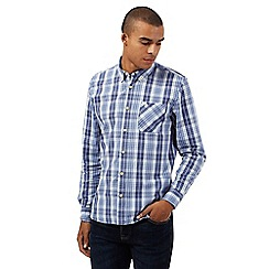 St George by Duffer - Big and tall blue checked regular fit shirt