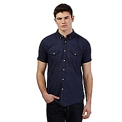 Red Herring - Big and tall navy textured short sleeve shirt