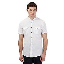 Red Herring - Big and tall white textured granddad short sleeve shirt