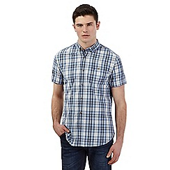 Red Herring - Big and tall light blue checked print short sleeve shirt