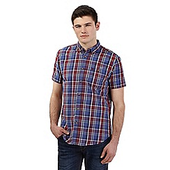 Red Herring - Big and tall blue wide checked print short sleeve shirt