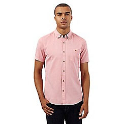 Red Herring - Big and tall pink textured regular fit shirt