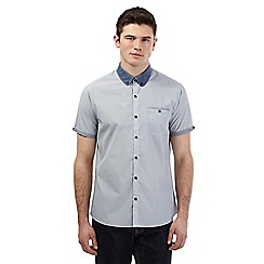 Red Herring - Grey micro dot print short sleeve shirt