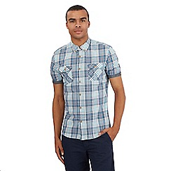 Red Herring - Big and tall turquoise short sleeve checked shirt